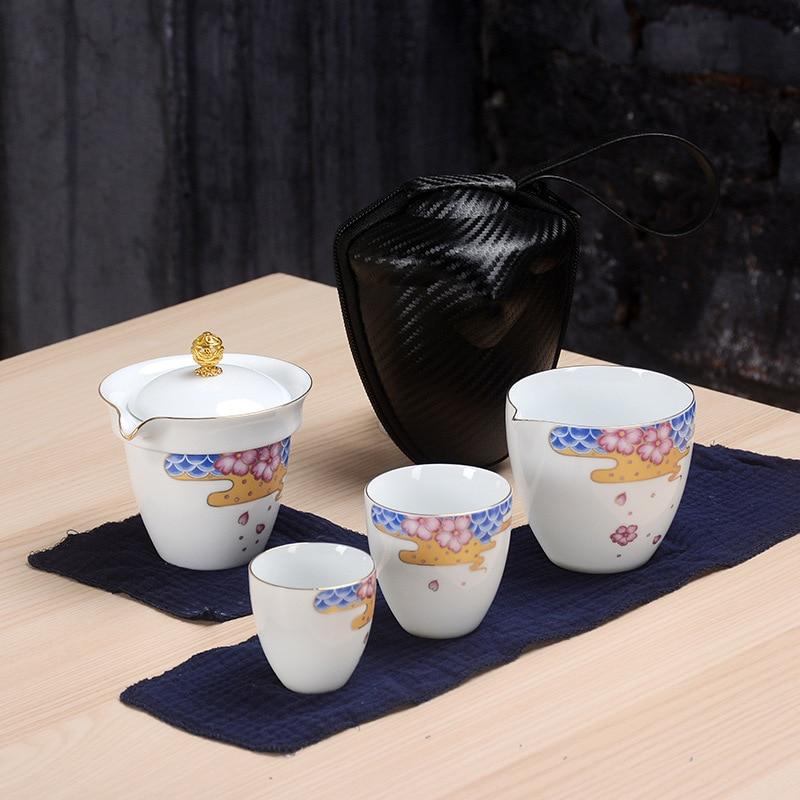 Handmade White Porcelain Kung Fu Tea Set Teapot Drinkware Tea Pot Cup Set Ceramic Chinese Teaset Travel Tea Ceremony Teaware Set