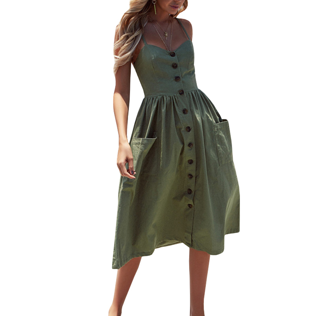 Womens Sexy Summer Backless Dress Female Button Down Baby Nursing