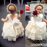 Vintage white/ivory lace infant baptism baby girl christening gowns with bow ankle length first communion dresses for girls