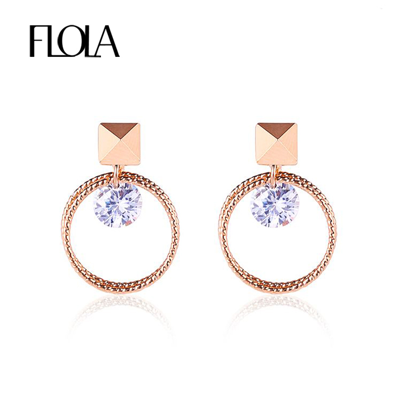 Flola Gold 585 Circle Clip On Earrings For Women Cubic Zircon Cz No Ear Hole Without Piercing Clips Ersj24 In From Jewelry