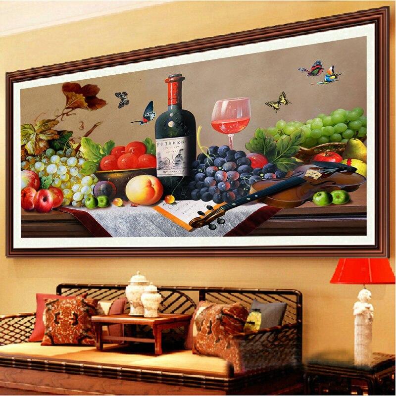 3D DIY холст DMC Счетный крест Наборы печатные крестиком полный Вышивка Кухня украшения фрукты картина подарок 97*59 см