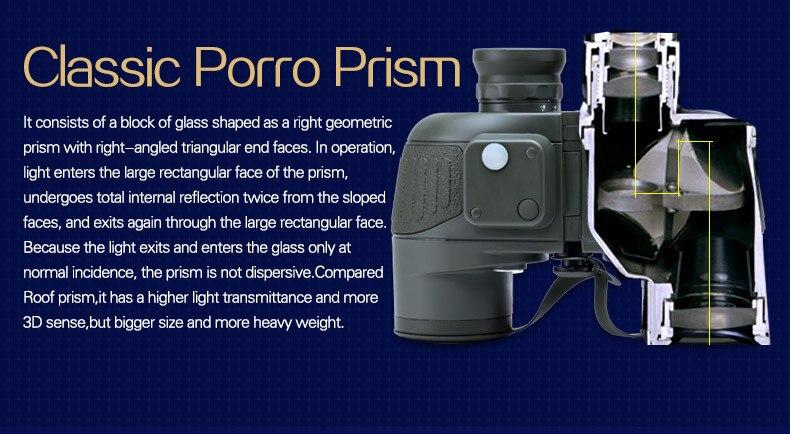 Binóculo da marinha HD 10x50 militar, telescópio