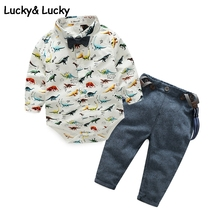 Newborn baby boy clothes bebes long sleeve jumpsuits with overall baby clothes dinosaur pattern