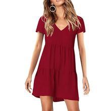 2019 New Yfashion Women V Collar Short Sleeve Pleated Dress Top Selling