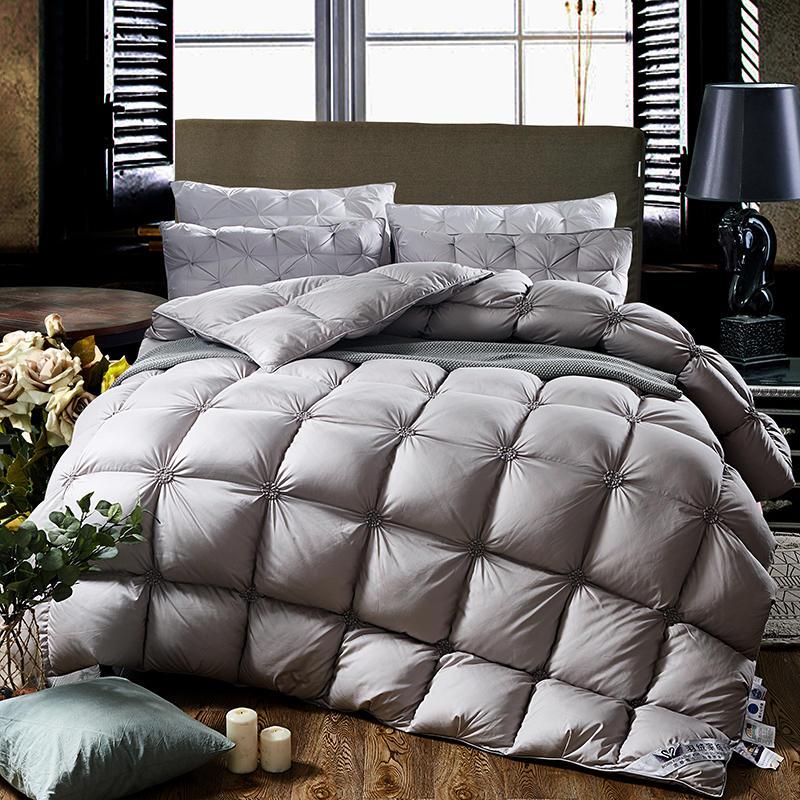Juego de cama de edredón gris blanco de plumón de ganso 100% juego de edredón de cama de tamaño completo King Queen colcha-in Colchas from Hogar y Mascotas    1