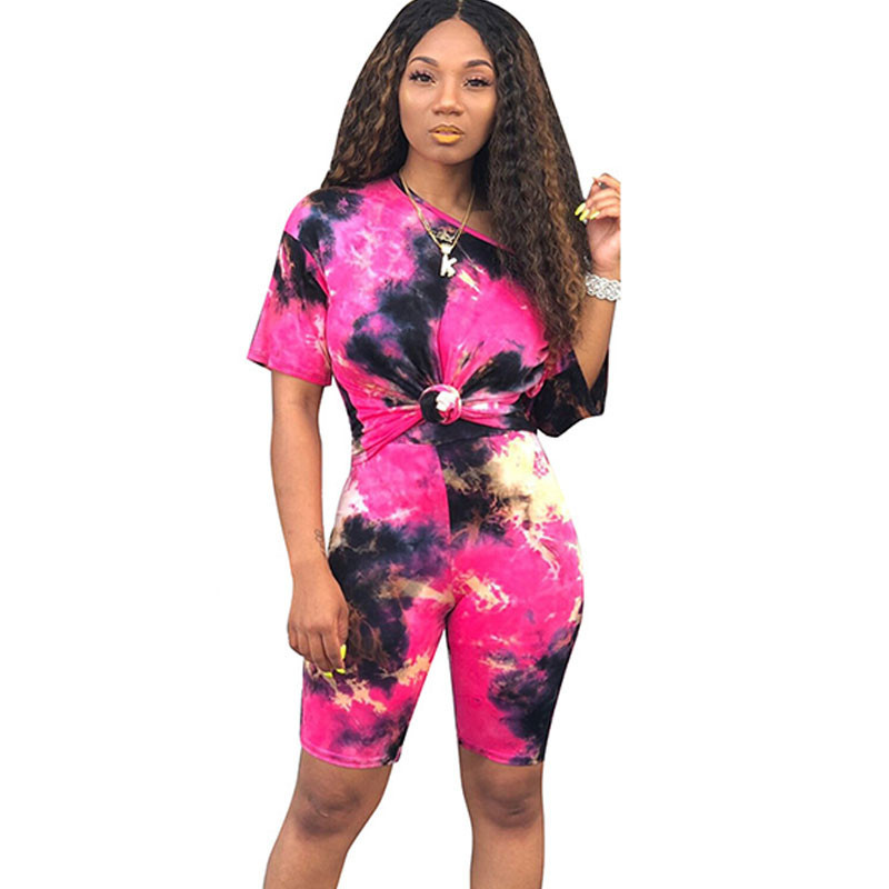 Tie Dye Streetwear Two Piece Outfits Summer Clothes For Women Short Sleeve T-shirt Top And Biker Shorts Tracksuit Matching Sets