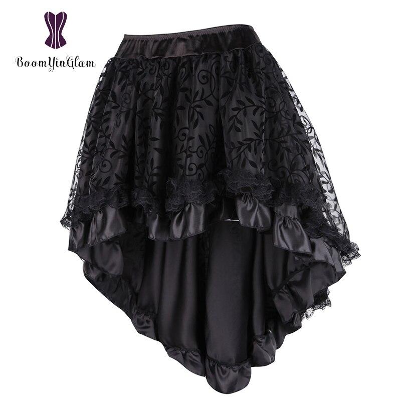 Femmes de Dentelle Steampunk Gothique Vintage Satin Haut Bas Corset Jupe Avec Fermeture Éclair Noir/Brun 937 #