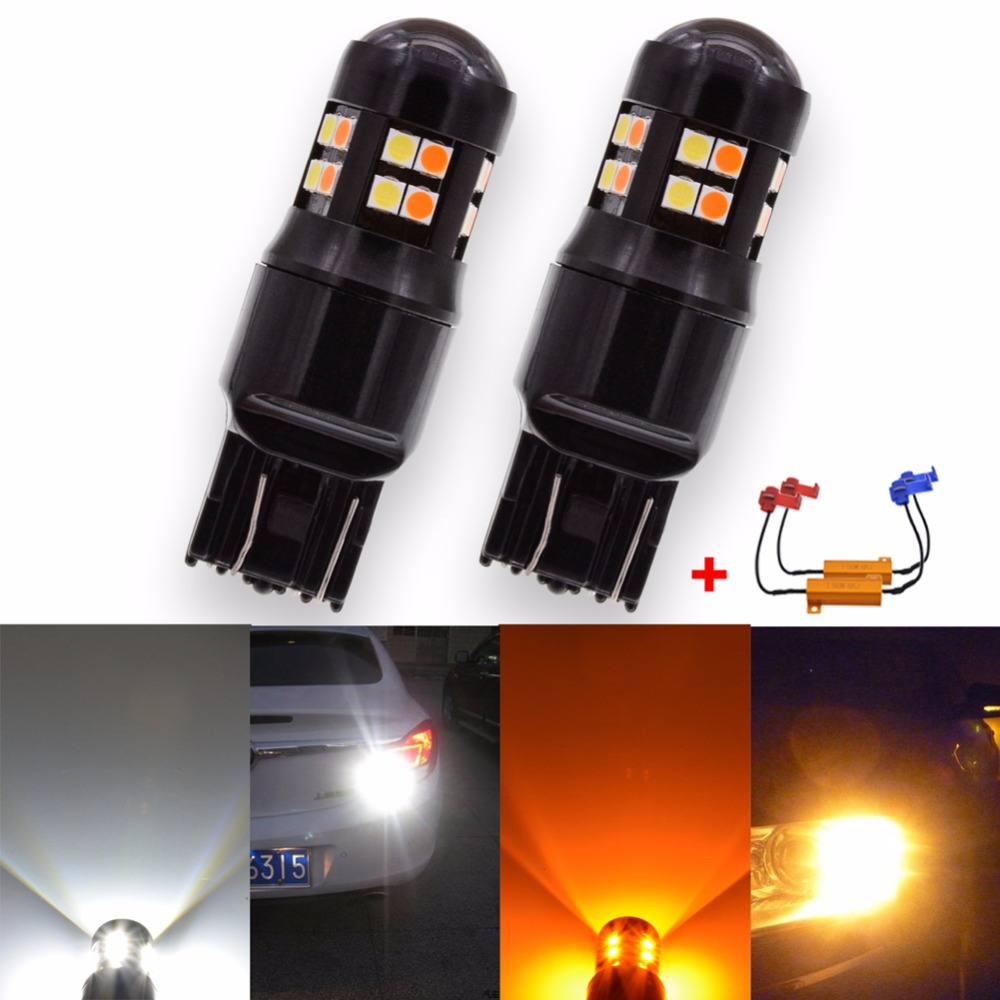 Katur 2x Canbus Error Free T20 7443 Switchback LED Dual Color Bulb Turn Signal Light Amber/Yellow White W21/5W Led 12V No Error