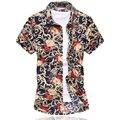Camisa Da Flor Dos Homens M-6XL 2016 Verão Camisa de Manga Curta de Alta qualidade de Algodão Mercerizado Camisas Plus Size Casual Camisa Slim Fit homens
