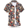 M-6XL Mens Flower Shirt 2016 Summer Short Sleeve Shirt High Quality Mercerized Cotton Shirts Plus Size Casual Slim Fit Shirt Men