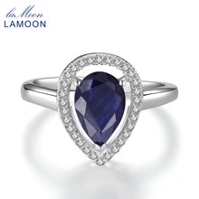 LAMOON 100% Real Sapphire Ring 925 Sterling Silver Jewelry Crown Rings for Women Platinum Plated Water Drop Wedding Bands RI054