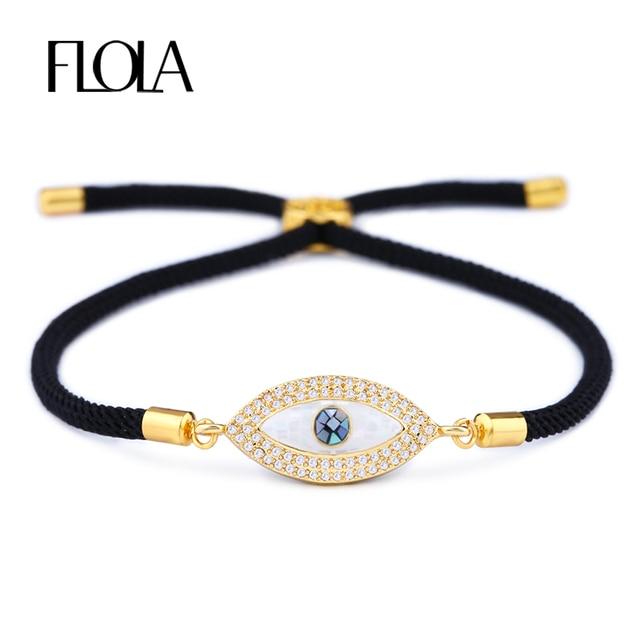 Flola Turkish Gold Evil Eye Bracelet For Woman Cz Zircon S Handmade Black Rope Man