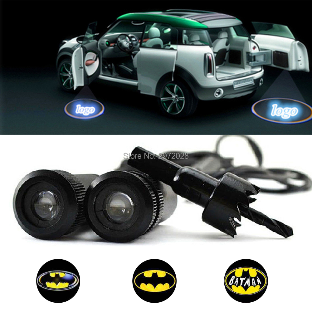 2Pcs Wireless LED Courtesy Car Door Step Laser Welcome Ghost Lights For Punisher