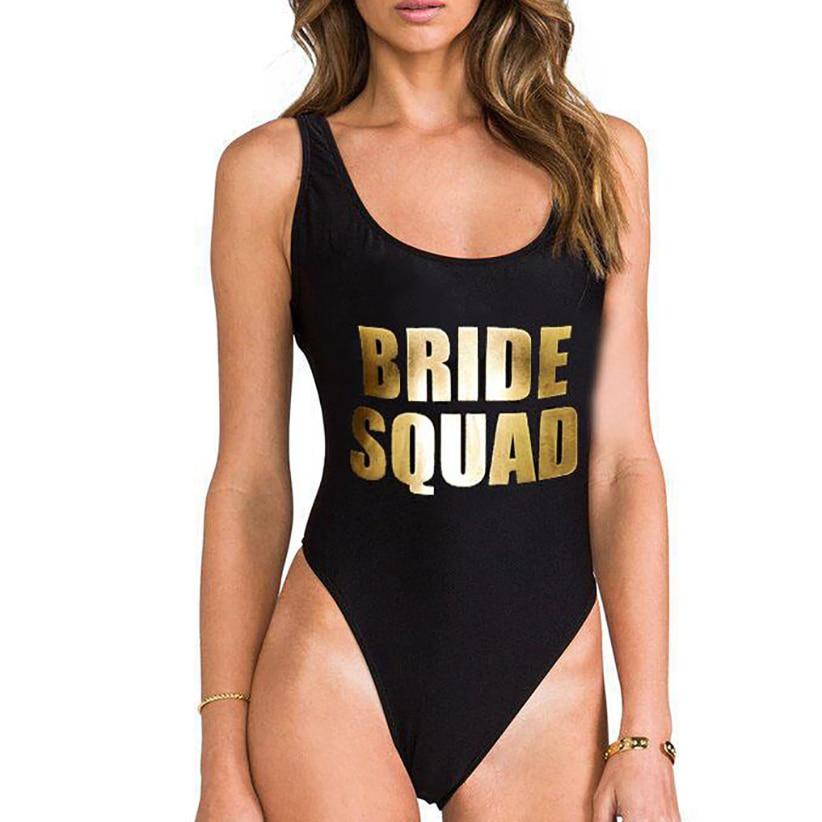 Sexy Bodysuit BRIDE SQUAD Letter Print One Piece Swimsuit Swimwear Women High Cut Beachwear Monokini Bathing Suit Wedding Bikini