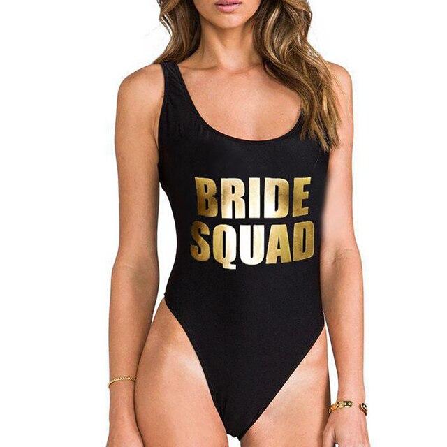 4aea2826ddafa Sexy Bodysuit BRIDE SQUAD Letter Print One Piece Swimsuit Swimwear Women  High Cut Beachwear Monokini Bathing