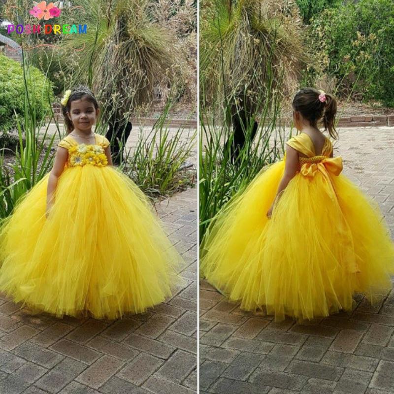 POSH DREAM Belle Princess Girls Dress Yellow Flower Girl Tutu Dress Canary Beautiful Handmade Yellow Kids Girls Tutu Party Dress
