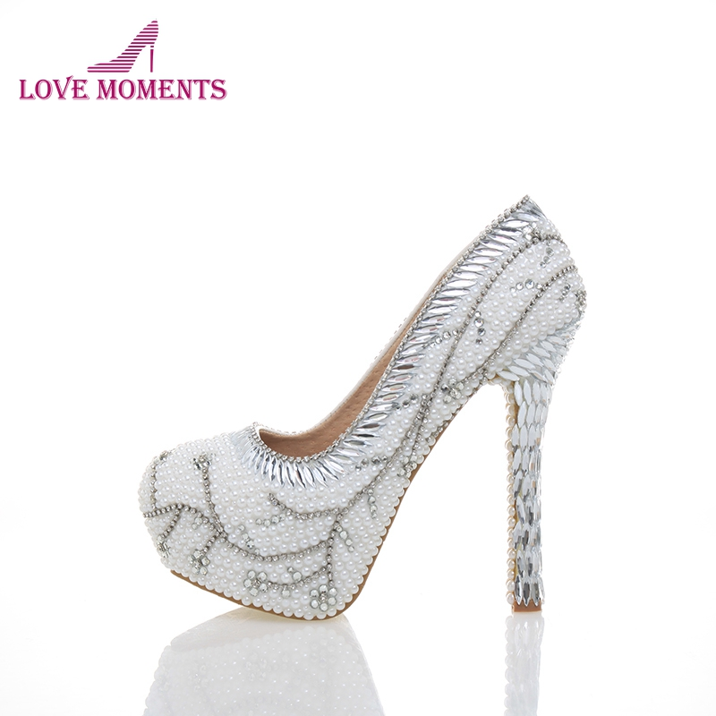 2018 White Pearls With Silver Rhinestone Flowers Unique Design Delicate Fresh Handmake Shoes Partyprom Bridal Wedding High Heels red color rhinestone partyprom stiletto bridal wedding shoes plus size 42 43 handmake crystal women high heels cinderella shoes