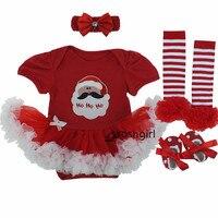 Infant Newborn Christmas Cute Kids Baby Girl Clothes Sets Children Xmas Cotton Cartoon 4Pcs Cloth Suits
