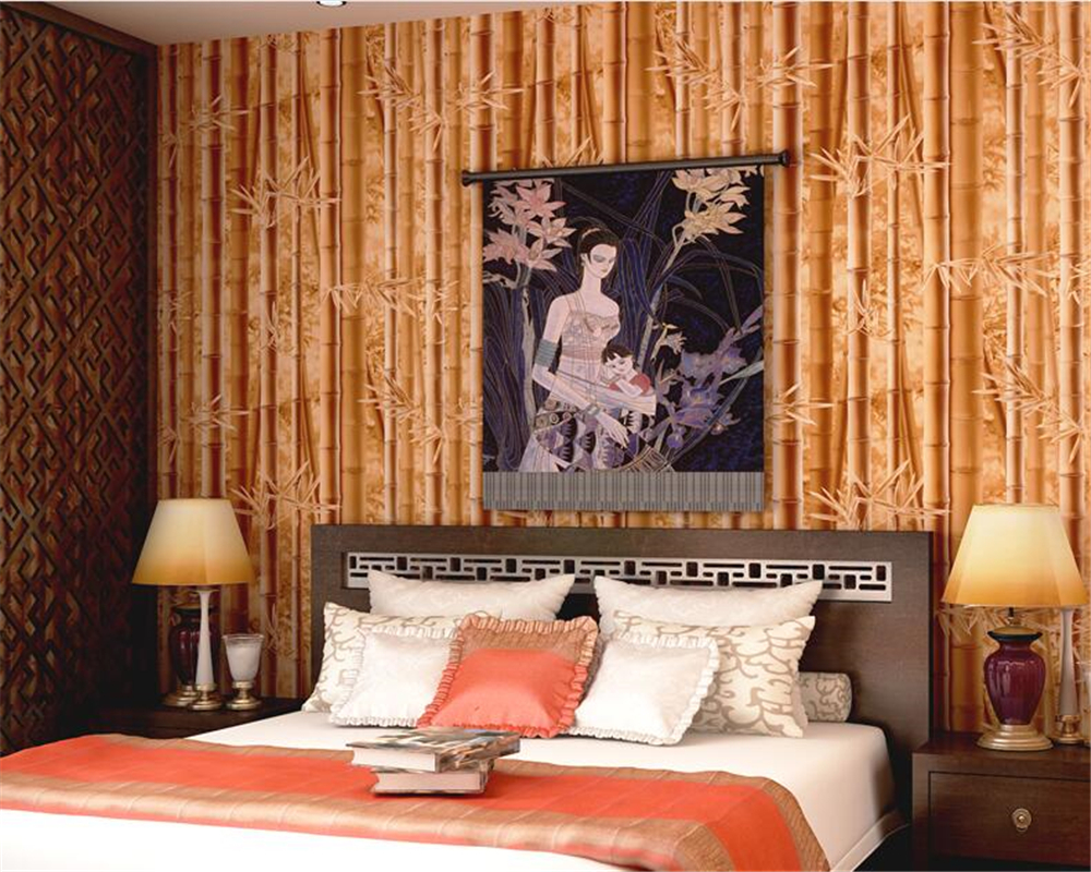 beibehang Chinese style non woven TV background wallpaper restaurant sofa wall green bamboo wallpaper papel de parede wall paperbeibehang Chinese style non woven TV background wallpaper restaurant sofa wall green bamboo wallpaper papel de parede wall paper