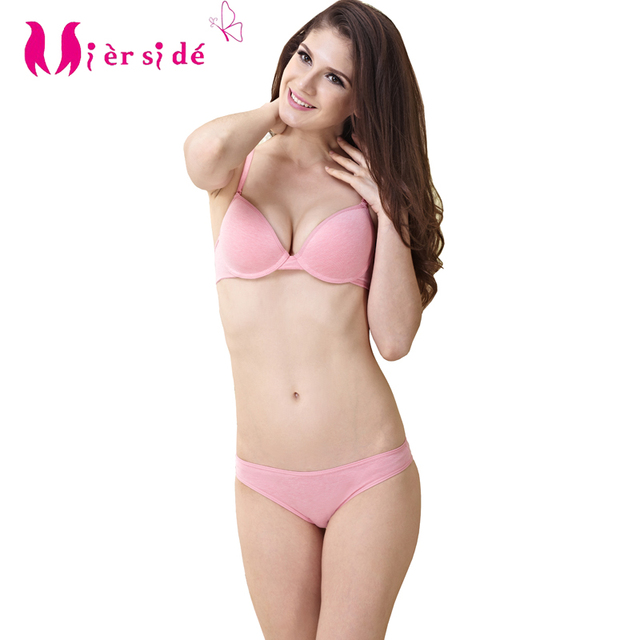 e577e2277b1 Mierside MIA01 Matching Underwear Bra Sets Comfortable Women 100% Cotton  2Color Bralette Sexy Panty 32-38 A  B Cup