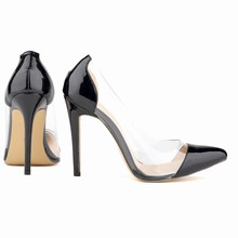 LOSLANDIFEN Leather Pumps for Women PVC Splice LADY Sexy Pointed Thin Heels  Sandals Patent Leather 11cm High Heel Shoes 302-27PA a20a5e5078bc