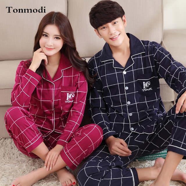 7d1660f9bd placeholder Couples Pajamas Women Lovers Sleepwear Spring Autumn 100% Cotton  Pajama Set Pyjamas Men Sleep Lounge