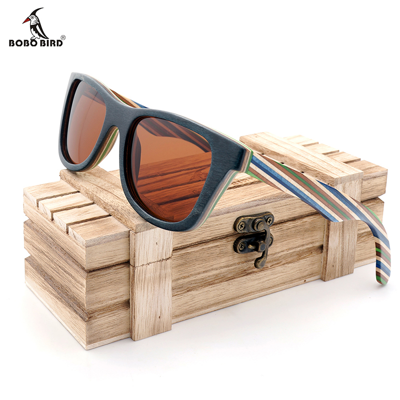 BOBO BIRD Polarized Sunglasses Women Men Layered Skateboard Wooden Frame Square Style Glasses for Ladies Eyewear In Wood Box