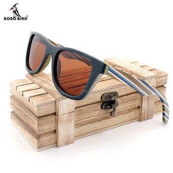 BOBO BIRD поляризационные солнцезащитные очки для женщин для мужчин слоистых скейтборд деревянный рамки квадратный Стиль очки