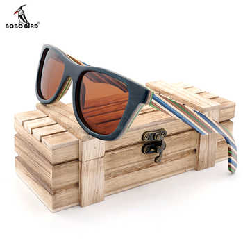 BOBO BIRD Polarized Sunglasses Women Men Layered Skateboard Wooden Frame Square Style Glasses for Ladies Eyewear In Wood Box - DISCOUNT ITEM  30% OFF All Category