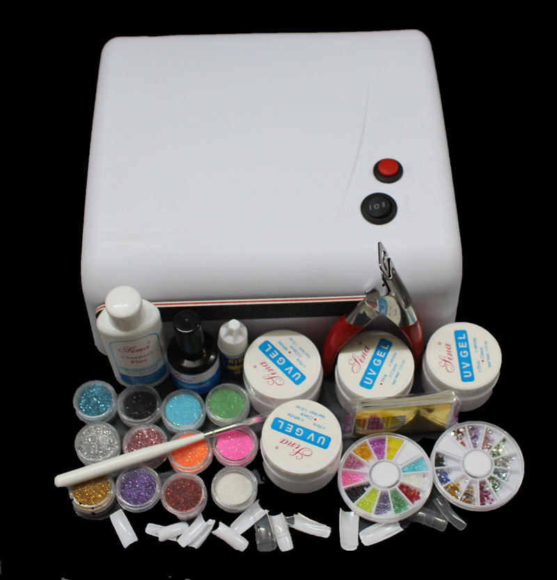 BTT-122 free shipping 36W White UV Lamp Gel Polish Curing Dryer Light Acrylic UV Nail Art Kit Set btt 138 pro nail polish eu us plug 9w uv lamp gel cure glue dryer 54 powder brush set kit at free shipping