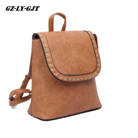 GZ LY GJT Women Backpack High Quality PU Leather Escolar School Bags For Teenagers Girls Handle