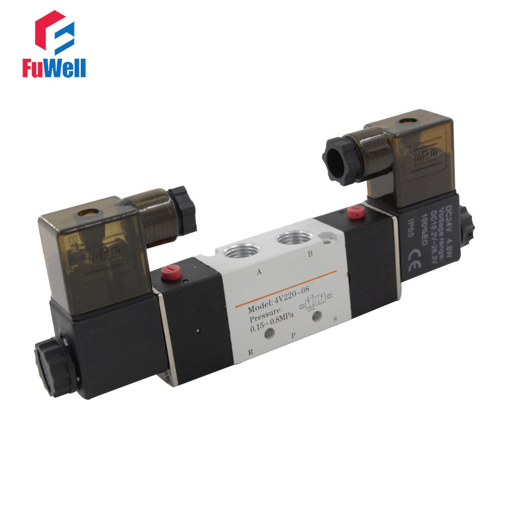 4V220-08 Pneumatic Valve AC220V 5 Ports 2 Positions Solenoid Valve PT1/4 Aluminum Alloy Air Control Valve 2pcs free shipping high quality 1 4 4v220 08 5 ways 2 positions air control solenoid valve dual head dc12v or dc24v
