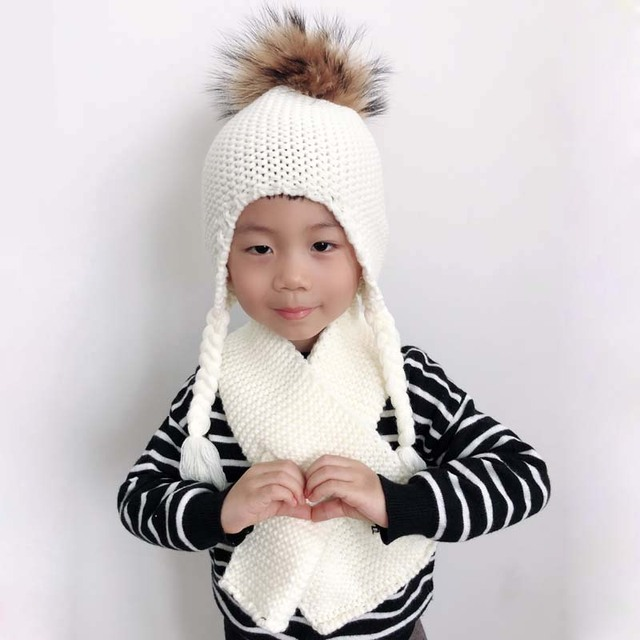 Baby Muts Sjaal Winter Echt Bont Pompom Hoed Voor Kids Kinderen Haak