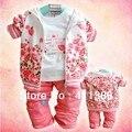 SY004 девочка одежда на осень детской одежды цветок хлопка костюм младенца пальто + рубашка + брюки trouses одежды детская одежда