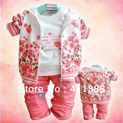 SY004 menina roupa do bebê para o outono roupa das crianças flor casaco + camisa + calça trouses vestuário de algodão terno infantil roupa dos miúdos