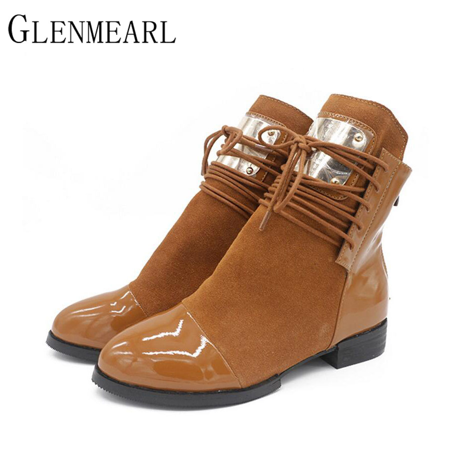 2017 Winter Ankle Women Boots Genuine Leather Square Heel Lace-up Low Fashion Sequined Short Boots Shoes Large Size ZK 1.5 camel women s pump 2015 new fashion leather winter short boots size zipper lace up elegant women s high heel boots pumpa54194612