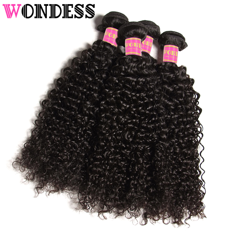 Wondess Hair Cambodian Curly Hair 4 Bundle Deals Unprocessed Human Hair Bundles Natural Color Virgin Hair Weaves 8-26inch
