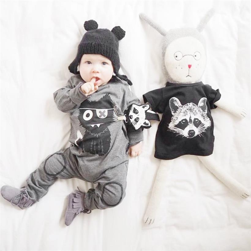 Big Big Wolf Baby Boy Rompers Newborn Jumpsuits Bebe Roupas Baby Girl Clothes 100% Cotton Fashion Cartoon Clothing For Baby
