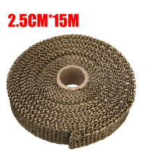 цена на 15M 1 Roll Motorcycle Exhaust Thermal Exhaust Tape Header Heat Wrap Resistant Downpipe For Motorcycle Car Accessories