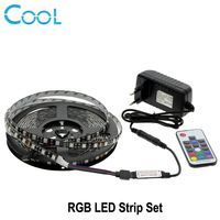 RGB LED Strip 5050 5 M Zwart/Wit PCB Indoor decoratie 17 Toetsen RF Afstandsbediening + 12 V 3A Power Supply