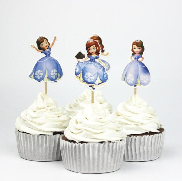 720pcs Princess Sofia Theme Party Supplies Cartoon Cupcake Toppers Pick Kid Birthday Decorations Wholesale