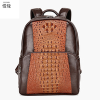 Men Daypacks Genuine Leather Man Men S Business Travel Bag Fashion College Students Backpack Male Casual