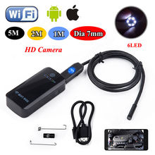 Бесплатная доставка! Wi-Fi ПОЛЕ 7 мм Wi-Fi Эндоскопа Бороскоп Инспекции Видеокамера 200 мАч для ios 7 для Android 1 М/2 М/5 М
