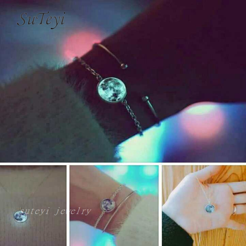 SUTEYI Charms Glass Luminous Star Series Planet Bracelet Crystal Cabochon Bangle Glow in the Darkness Bracelet Christmas Jewelry
