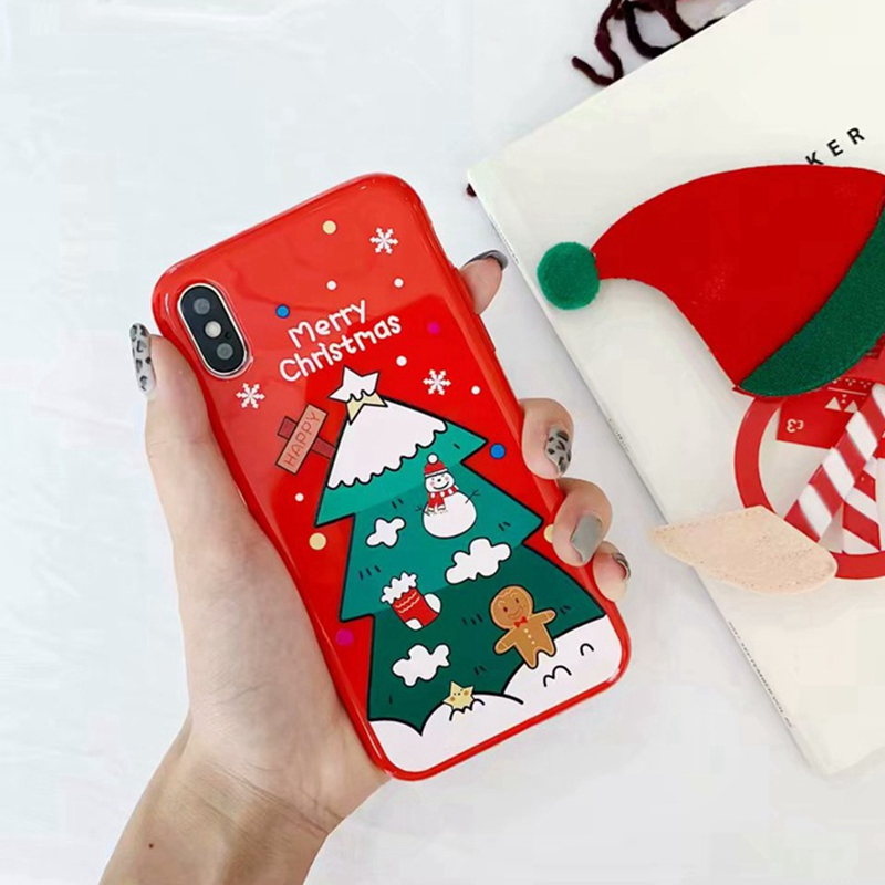 Cover for iphone 6s 6 Plus X Christmas Case Santa Claus Snowman Relief Cases For iPhone XS Max iphone 7 8 plus XR Soft Coque