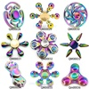 Rainbow Spinner Lot EDC Stress Toy Batman Tri Hand Spinner LED Fidget Metal Spiner