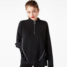 Фотография Casual Loose Female Sweatshirt Pure Color Top Coat 2017 Female Autumn Winter Turtleneck Ruffles Pullovers Long Sleeve Tee