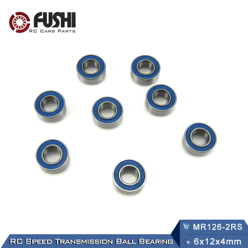 MR126RS Bearing ABEC-3 (10PCS) 6X12X4 mm Miniature MR126 - 2RS RU Ball Bearings Blue Sealed For Axial SCX10 II free shipping 1 2x3 4 x5 32 blue rubber bearings abec 3 r1212 2rs motor bearing model bearing 12 7x19 05x3 969mm