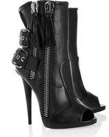 Nieuwste Fashion Black Leather schoenen Peep Toe Dubbele Gesp Enkel schoenen Real Photo Dubbele Rits Enkellaars