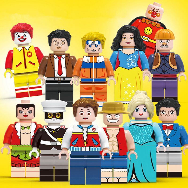 ZXZ 12pcs/set Building Blocks Figures Brick 12 Occupations Police Soldiers Clown Compatible With Legoes Figures For Kids Toys